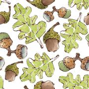 Vector Seamless Pattern with Watercolor Oak leaves and Acorns - stock illustration