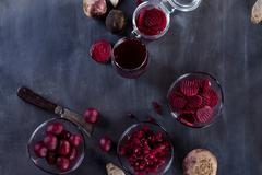 Beetroots products on black chalk board Stock Photos