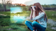 Girl taking photos with old film camera with viewfinder projection hologram Stock Footage