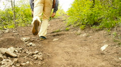 A man with a backpack walk uphill the forest trail .Hiking. - stock footage