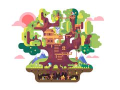 Fairy tree house - stock illustration