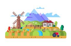 House in village, farm - stock illustration