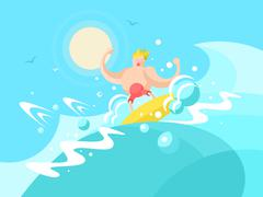 Surfer on the a wave crest Stock Illustration