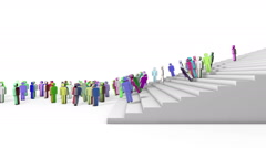 Group of people running up the stairs Stock Footage