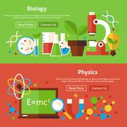 Biology and Physics Science Flat Website Banners Set - stock illustration