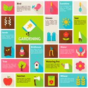 Flat Design Vector Icons Infographic Spring Gardening Concept - stock illustration