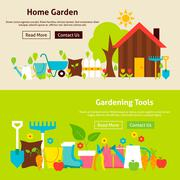 Home Gardening Tools Flat Website Banners Set - stock illustration