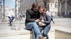 Charming Couple With Smartphone Outdoors Hotel De Ville, Paris Stock Footage