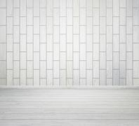White room interior with brick wall and wood floor Stock Photos