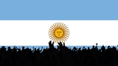 Argentine flags with people on background Stock Footage