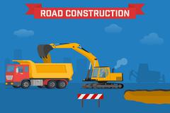 Excavator digging pit in the ground and load truck. - stock illustration