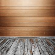 room interior with wood wall and floor - stock photo