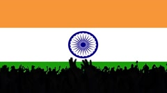 Flag of India with people on background Stock Footage