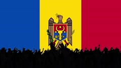 Moldovan flag background with people Stock Footage