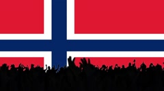 norway flag background with peoplenorway - stock footage