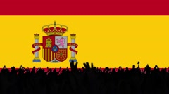 Spain flag background with people Stock Footage