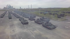 aerial tanks Russian army games by copter drone - stock footage