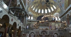Naval Cathedral in Kronstadt. The inside of the Cathedral, chandeliers Stock Footage
