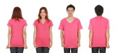 man and woman with blank t-shirt - stock photo