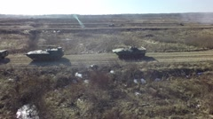 Aerial tanks Russian army games by copter drone Stock Footage