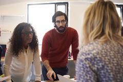 Creative Brainstorming Meeting In Design Office Stock Photos