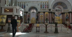 Naval cathedral of Saint Nicholas in Kronstadt. The marble icon screen Stock Footage