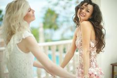 Gorgeous, lovely bride hugging, embracing beautiful best friend. Stock Photos