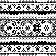 Traditional folk knitted black embroidery pattern from Ukraine or Belarus - stock illustration