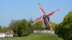 The wooden windmill Sint-Janshuismolen in Bruges, Belgium - stock footage