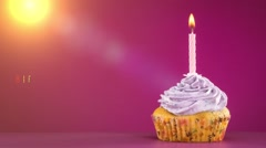 Congratulations on the birthday cake with candle Stock Footage