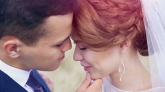 Just married young couple in love gentle touch each other Arkistovideo