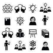 Knowledge, creative thinking, ideas vector icons set - stock illustration