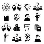 Knowledge, creative thinking, ideas vector icons set Stock Illustration