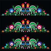 Polish folk art embroidery with roosters - traditional folk pattern - stock illustration