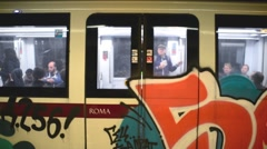 The doors closed and the subway train leaves the station in Milan Stock Footage