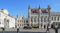 Bruges City Hall and old civil registrar at the Burg, Flanders, Belgium - stock footage