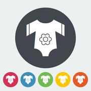 Baby clothes flat icon - stock illustration