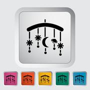 Bed carousel icon - stock illustration