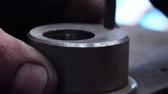 Close-up View of Man Driling Metal Tool Stock Footage