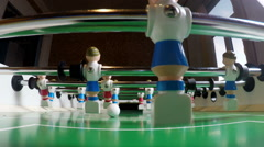 Toy football players. The goalkeeper misses the goal. Slow motion Stock Footage