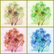 Water colour, trees - stock illustration