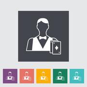 Live dealer flat icon - stock illustration
