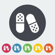 Pills flat icon - stock illustration