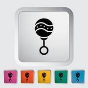 Rattle flat icon - stock illustration