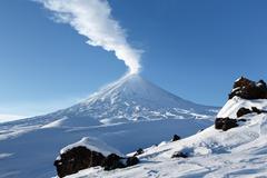 Klyuchevskoy Volcano - active volcano in Kamchatka Peninsula - stock photo