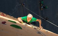Aged Person Practicing Extreme Sport Stock Photos