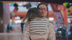 Family having fun in the shopping mall Stock Footage