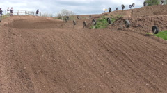 Two motocross riders Stock Footage
