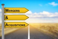 M&A or Mergers and Acquisitions words on yellow road sign - stock photo