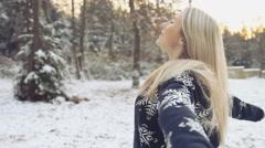 Woman walks in winter wood background Stock Footage